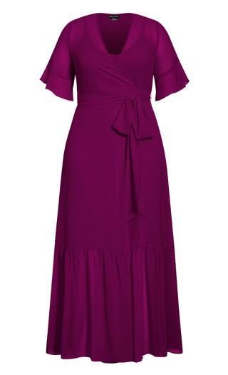 Flutter Wrap Maxi Dress - magenta