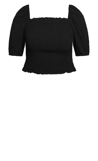 Sweetly Shirred Top - black