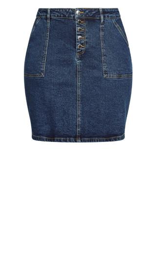 Vintage Feel Skirt - mid denim