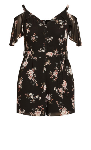 Imperial Floral Playsuit - black