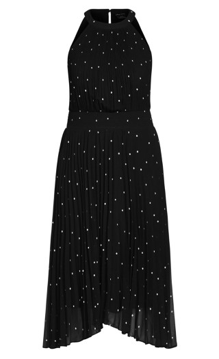 Pleated Spot Dress - black