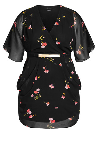 Wrap Petal Dress - black