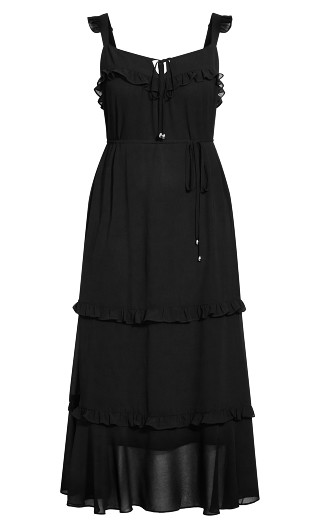 Frills Maxi Dress - black