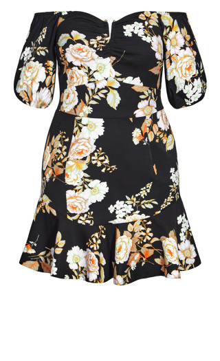 Aria Floral Dress - black