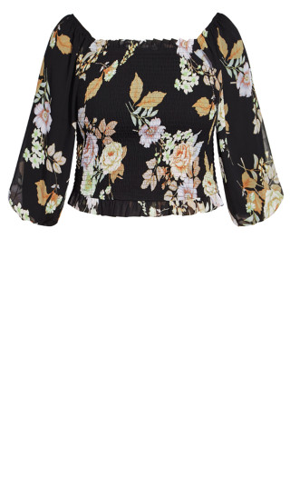 Aria Floral Top - black