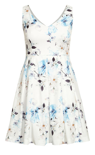 Orchid Floral Dress - ivory