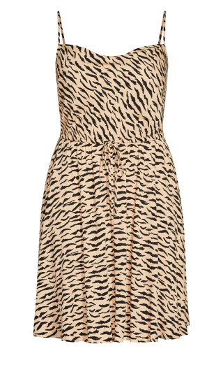 Classic Animal Dress - caramel animal