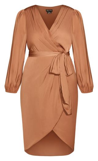 Opulent Elbow Sleeve Dress - gingerbread