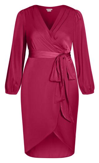 Opulent Elbow Sleeve Dress - magenta