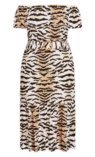 Tigress Midi Dress - tiger print