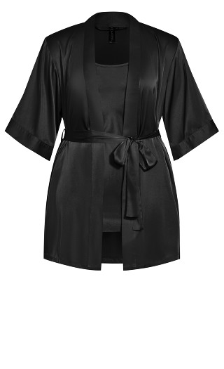 Satin Chemise & Robe Set - black