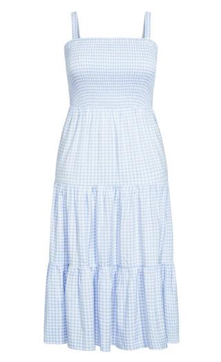 Gingham Maxi Dress - sky blue