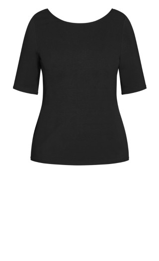 Scoop Neck Elbow Sleeve Tee - black