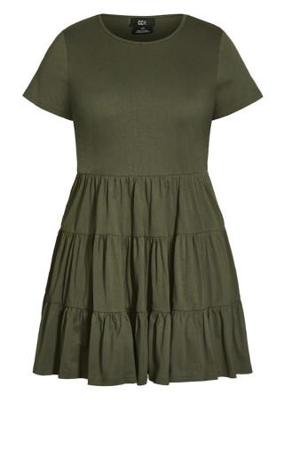 Sweet Tier Dress - khaki