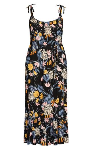 Night Jungle Maxi Dress - black floral