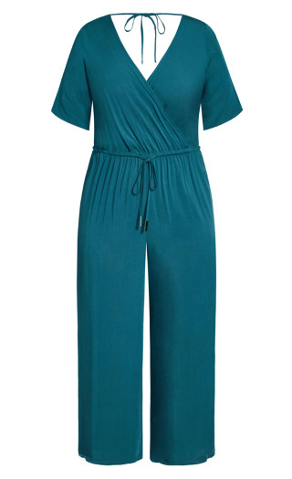 Palm Villa Jumpsuit - teal