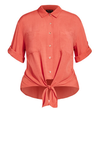 Tropical Tie Top - tangerine