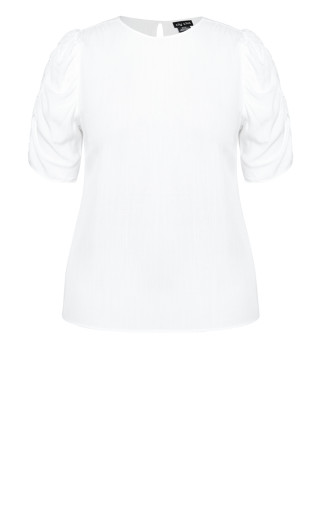 Ruched Escape Top - ivory