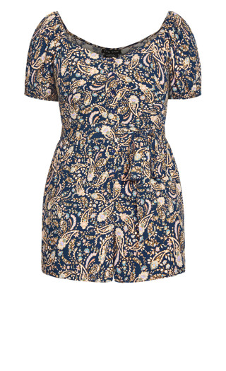 Sun Paisley Playsuit - navy