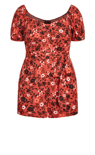 Island Floral Playsuit - rust