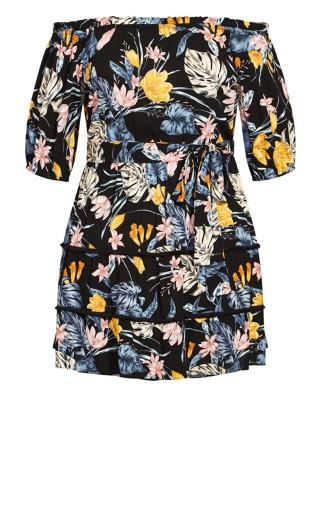 Night Jungle Dress - black floral