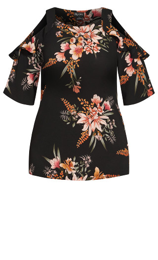 Sweet Floral Top - black