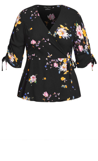 Rose Floral Top - black