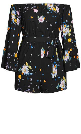 Summer Rose Playsuit - black