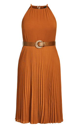 Halter Pleat Dress - caramel