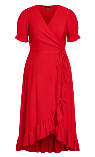 Festive Ruffle Maxi Dress - red