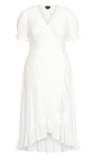 Festive Ruffle Maxi Dress - white