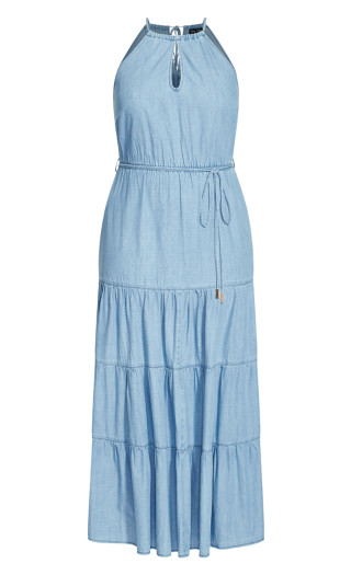 Hamptons Tier Maxi Dress - denim