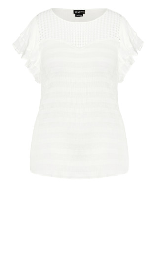 Crosshatch Top - white