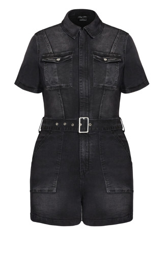 Denim Sleeve Playsuit - washed black