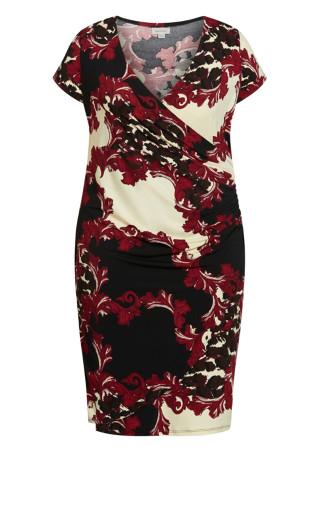 Donna Print Dress - red scroll