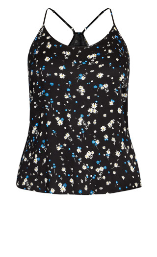 Kitty Print Cami - daisy blue