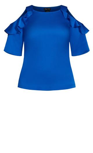 Frill Cold Shoulder Top - bright blue