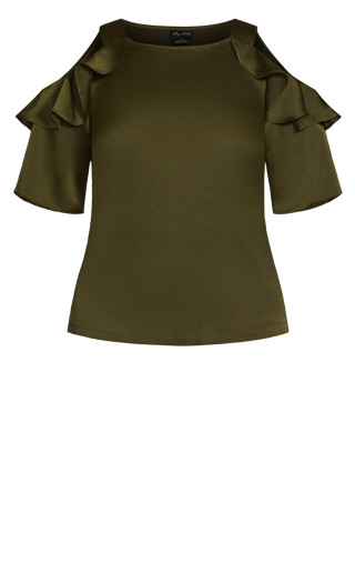 Frill Cold Shoulder Top - military
