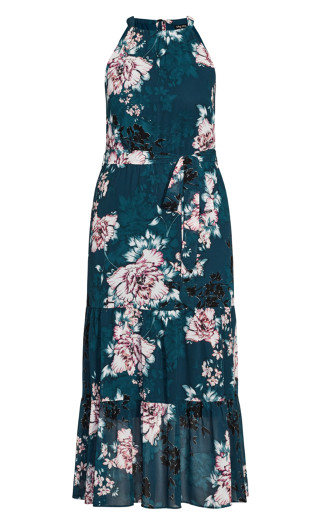 Halter Blossom Maxi Dress - jade
