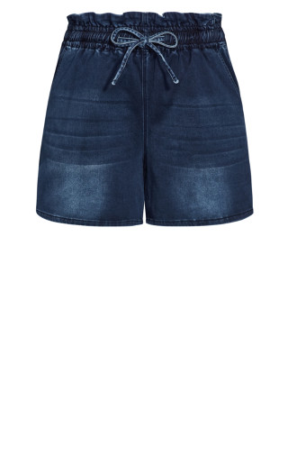 Paperbag Tie Short - dark wash