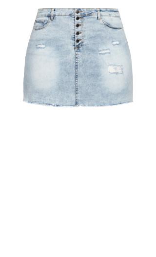 Distress Corset Skirt - light wash