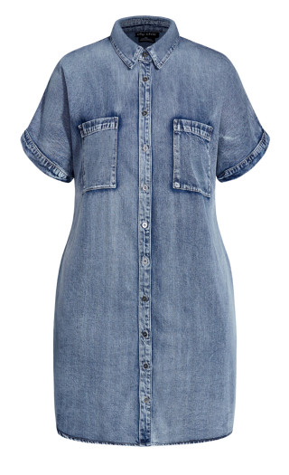 Denim Sleek Dress - mid denim