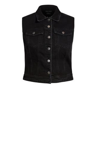 Denim Vest Jacket - black wash