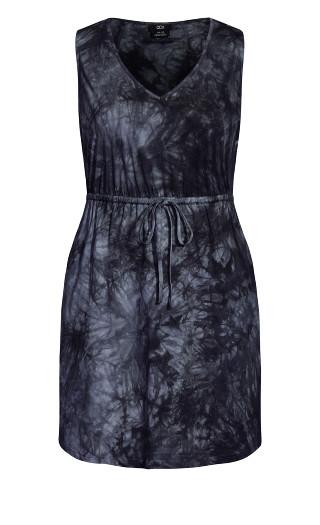 Tie Dye Dress - black