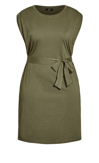 Sharp Shoulder Dress - light khaki