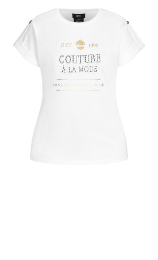 Golden Buttons Tee - ivory