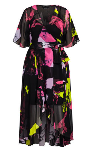 Colour Shock Maxi Dress - black