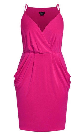 Luxe Drape Dress - shock pink