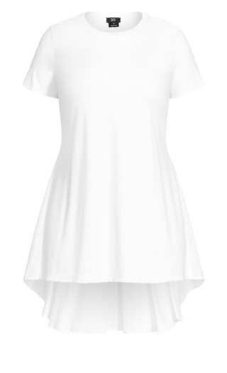Hi Lo Pleat Top - ivory