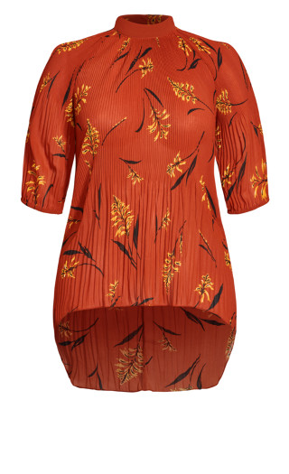 Leaf Floral Top - rust